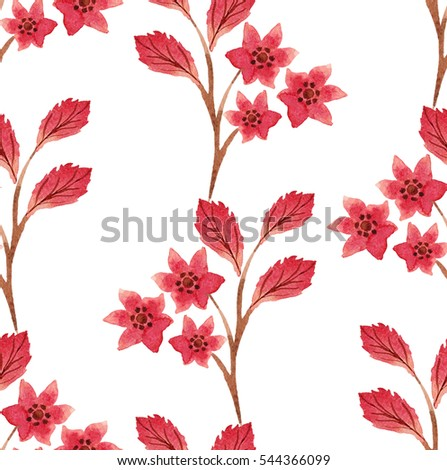 Seamless floral  ornament with  red leaves and flowers  on white background.  Watercolor.