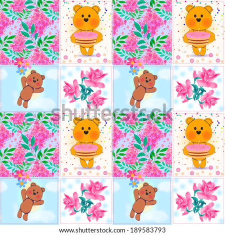 Seamless floral patchwork kids pattern with teddy bears and flowers