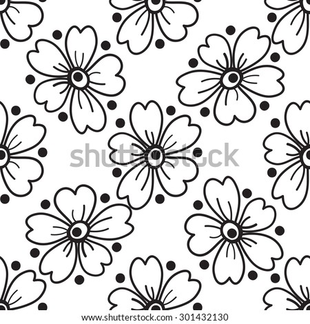 Seamless floral pattern black white graphics stock illustration seamless floral pattern black and white graphics large flowers on a white background mightylinksfo