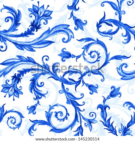 seamless floral pattern, blue on white, watercolor painted ornament - stock photo