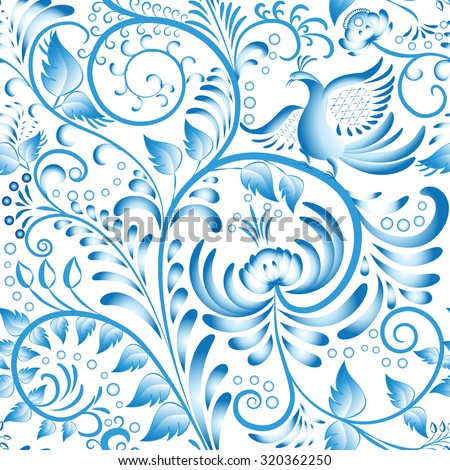Seamless floral pattern. Blue painted in gzhel style with flowers and birds. Stylization Chinese porcelain ornament. Rasterized version. - stock photo