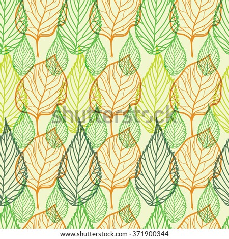 Seamless floral pattern, freehand drawing - leafs - stock photo