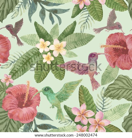 Seamless floral pattern from hand drawn watercolor tropical fantasy  flowers, birds,  and  foliage at the light green background - stock photo