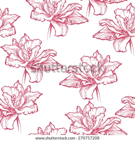Seamless floral pattern, hand drawn fuchsia red tulips. Isolated on white background. Fabric texture. Template for scrapbook.