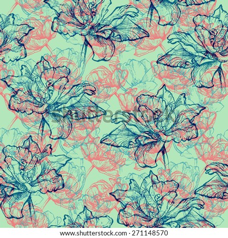 Seamless floral pattern, hand drawn indigo, turquoise blue and pink tulips. Isolated on minty green background. Fabric texture. Template for  - stock photo