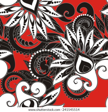 seamless floral pattern in vintage style - stock photo