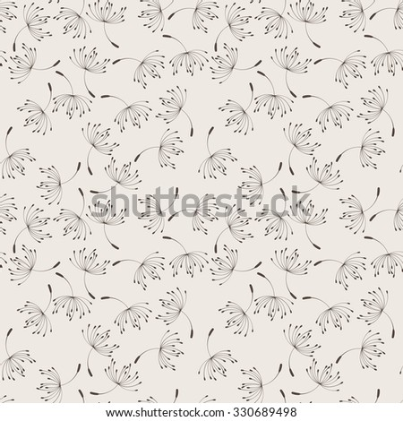 Seamless floral pattern of flying dandelion seeds in the wind - stock photo