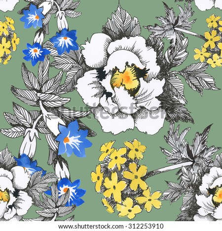 Seamless floral pattern on green background with watercolor summer meadow blooming flowers - stock photo