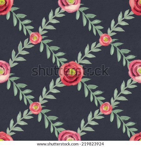 Seamless floral pattern on paper texture. Hand drawn background - stock photo