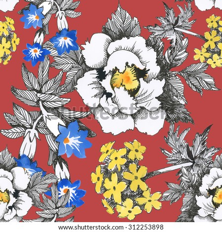 Seamless floral pattern on red background with watercolor summer meadow blooming flowers - stock photo
