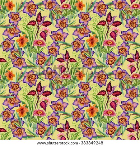 Seamless floral pattern on yellow background with blooming narcissus flowers - stock photo