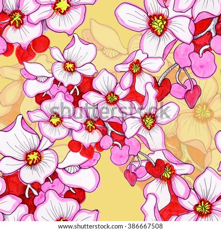 Seamless floral pattern on yellow background with blooming orchid flowers - stock photo