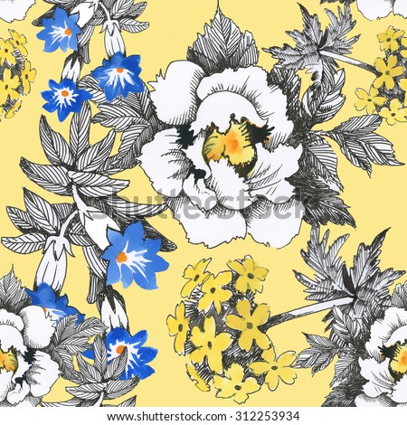 Seamless floral pattern on yellow background with watercolor summer meadow blooming flowers - stock photo