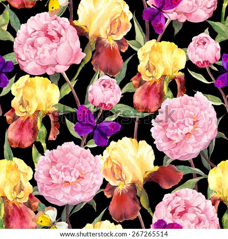 Seamless floral pattern. Peony flowers, iris and butterflies. Watercolor on black background - stock photo
