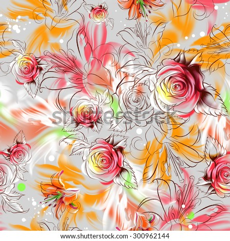 Seamless floral pattern. Tropical exotic flowers drawn in pencil and watercolor. Color roses, lilies and orchids. Russian Khokhloma painting style. Freehand drawing - stock photo