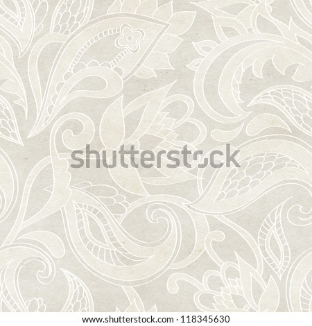 Seamless floral pattern. Vintage paisley background on paper texture. - stock photo
