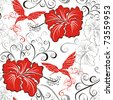 Seamless floral pattern whit hibiscus and hummingbird - stock photo