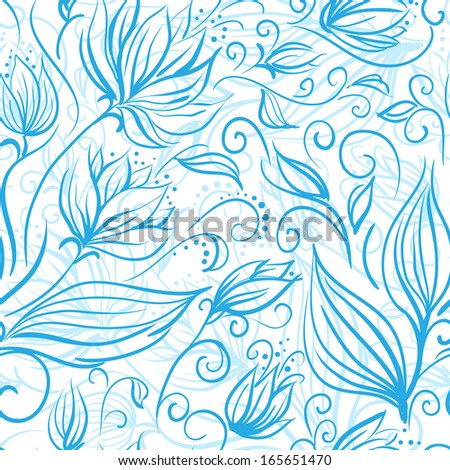 Seamless floral pattern with a cute blue flowers. Raster version
