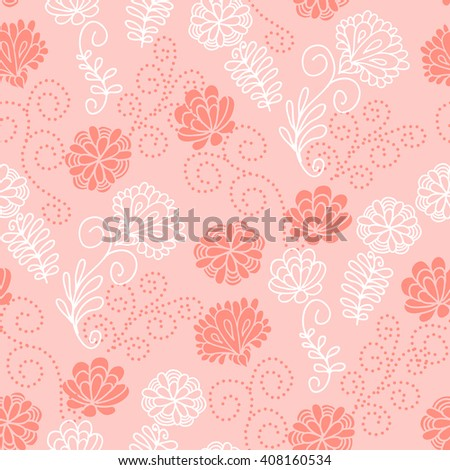 Seamless floral pattern with a cute pink flowers - stock photo