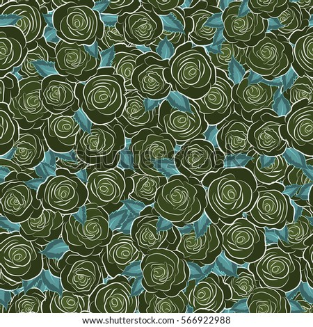 Seamless floral pattern with abstract green roses.