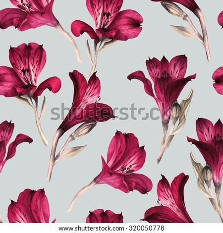 Seamless floral pattern with Alstroemeria, watercolor.   - stock photo