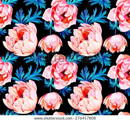 seamless floral pattern with anemone on black background. beautiful windflower in a romantic composition. watercolor illustration, very detailed botanical drawing. - stock photo