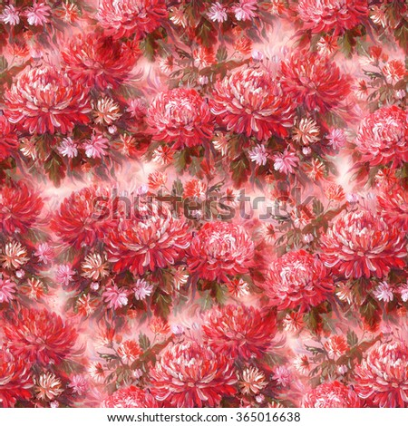 Seamless floral pattern with beautiful hand painting chrysanthemum