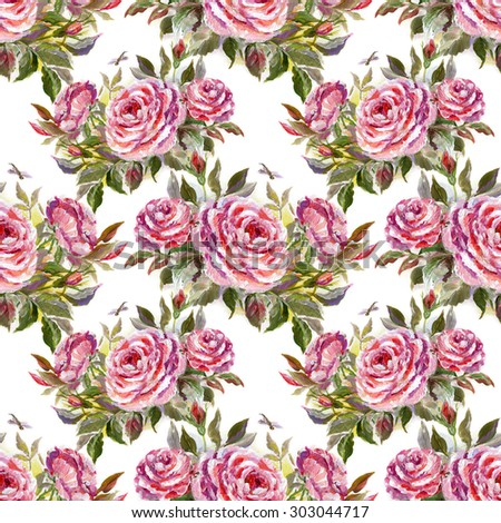 Seamless floral pattern with beautiful oil painting roses