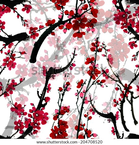 Seamless floral pattern with blossom sakura on white background, traditional Japanese ink painting in sumi-e style.