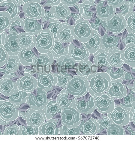 Seamless floral pattern with blue roses, watercolor effect.