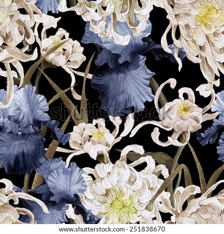 Seamless floral pattern with chrysanthemum and iris, watercolor  - stock photo