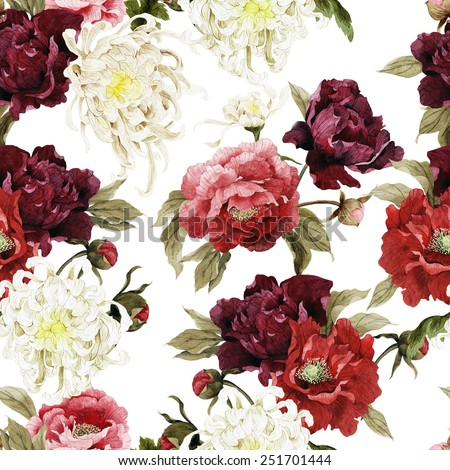 Seamless floral pattern with chrysanthemum and peonies, watercolor  - stock photo