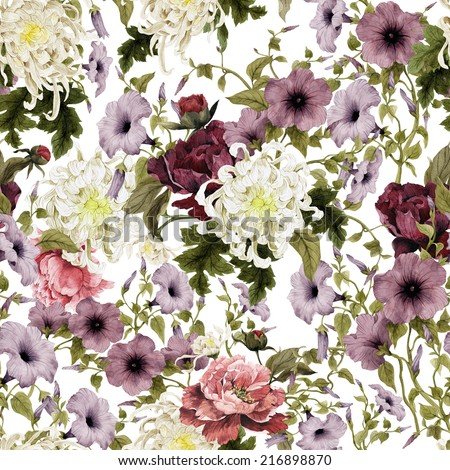 Seamless floral pattern with chrysanthemum, convolvulus and peonies, watercolor - stock photo