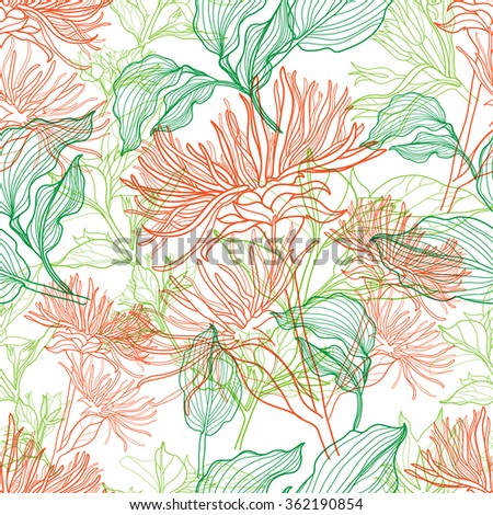 Seamless floral pattern with colorful flowers - stock photo