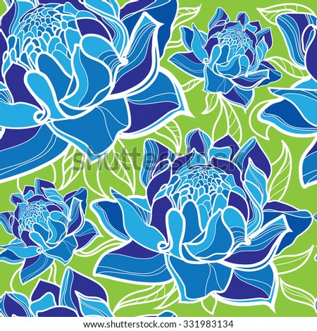 "Seamless floral pattern with colorful flowers (From my big ""Seamless collection"") - stock photo"