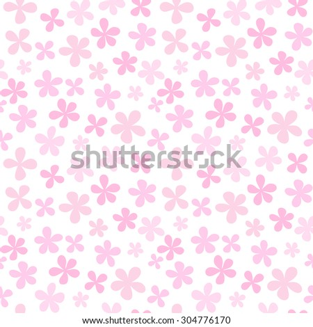 Seamless floral pattern with cute simple flowers - stock photo