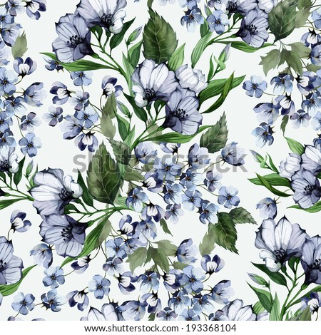 Seamless floral pattern with eustoma on light background, watercolor. - stock photo