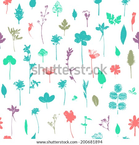 Seamless floral pattern with  flowers - stock photo