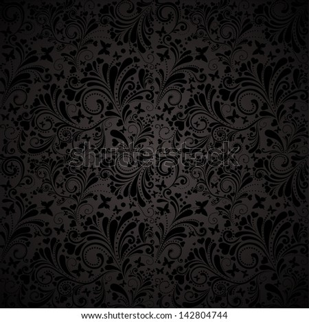 Seamless floral pattern with flowers and butterflies. Floral  illustration.