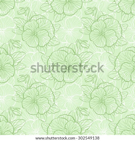 Seamless floral pattern with flowers of pansy - stock photo