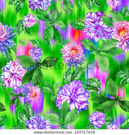 seamless floral pattern with ikat effect. beautiful chrysanthemum and camellia flowers on intense ikat background.  - stock photo