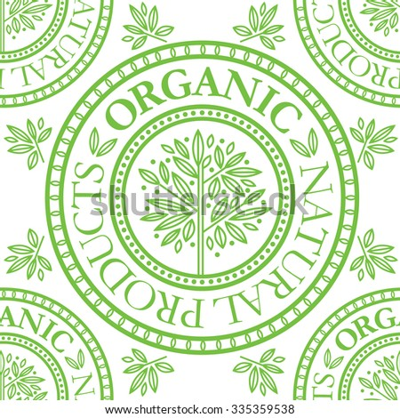 "Seamless floral pattern with ""Natural product"" stamp"