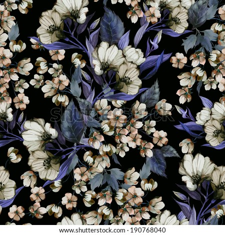 Seamless floral pattern with of eustoma on dark background, watercolor - stock photo