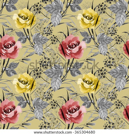 Seamless floral pattern with of red and yellow roses on beige background, watercolor illustration - stock photo