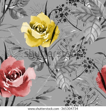 Seamless floral pattern with of red and yellow roses on gray background, watercolor illustration - stock photo