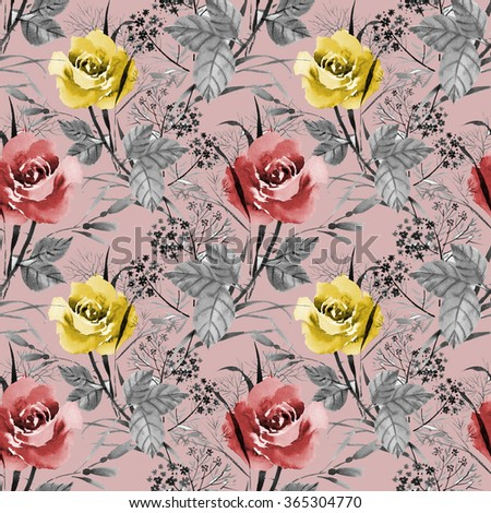 Seamless floral pattern with of red and yellow roses on pink background, watercolor illustration - stock photo