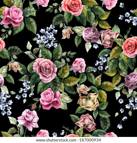 Seamless floral pattern with of red, purple and pink roses on black background, watercolor. - stock photo