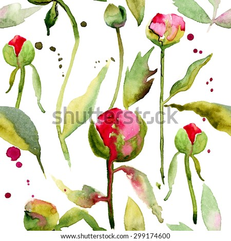 Seamless floral pattern with peonies on watercolor background. #1 - stock photo