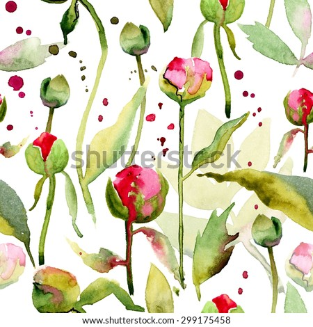 Seamless floral pattern with peonies on watercolor background. #2 - stock photo