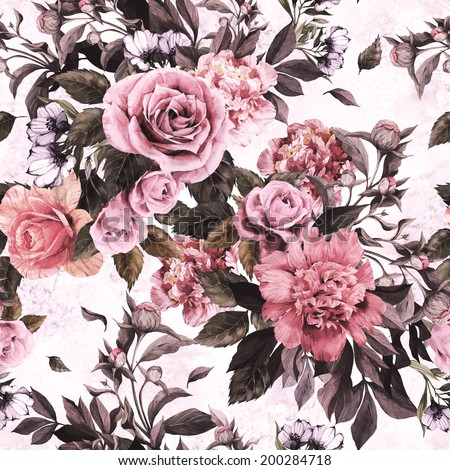 Seamless floral pattern with pink roses and peonies on watercolor background. - stock photo